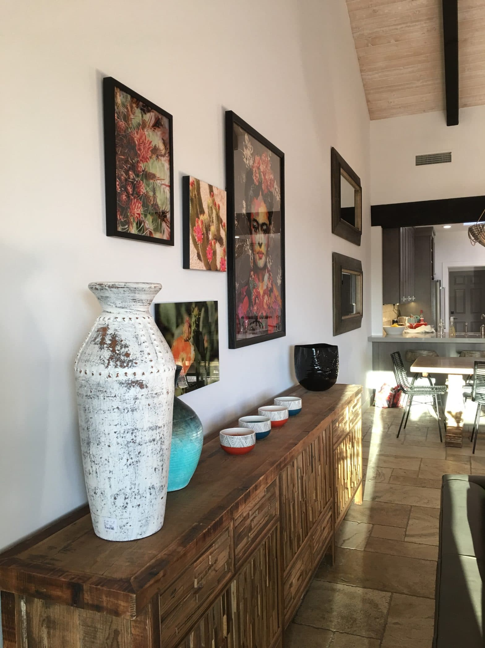 Eclectic gallery wall southwestern interior design