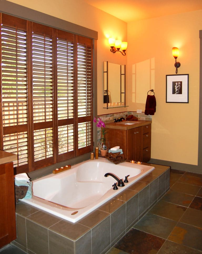 Pacific NW Portland bathroom remodel interior with slate tile