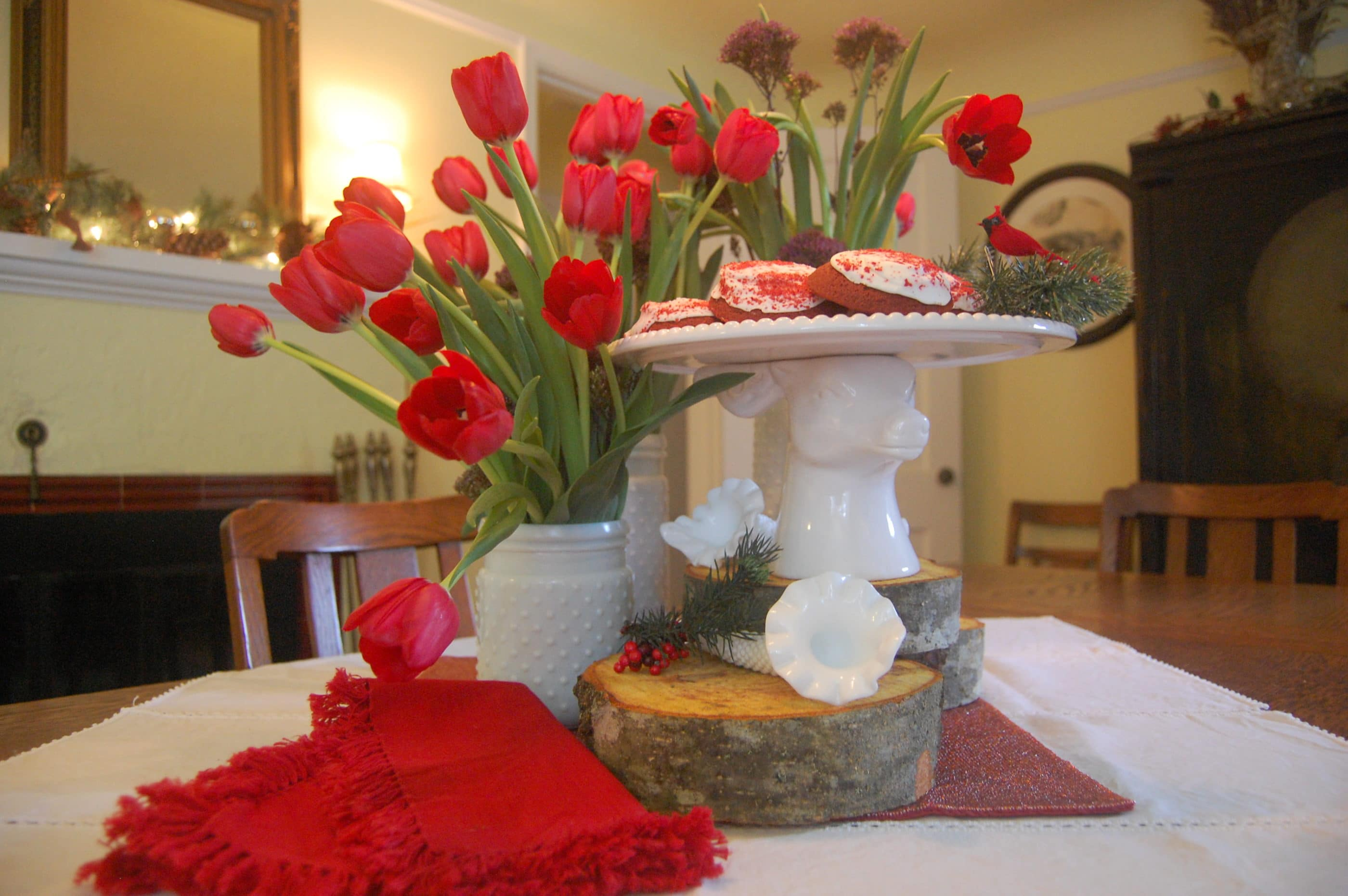 red and white table decor holiday tablescape