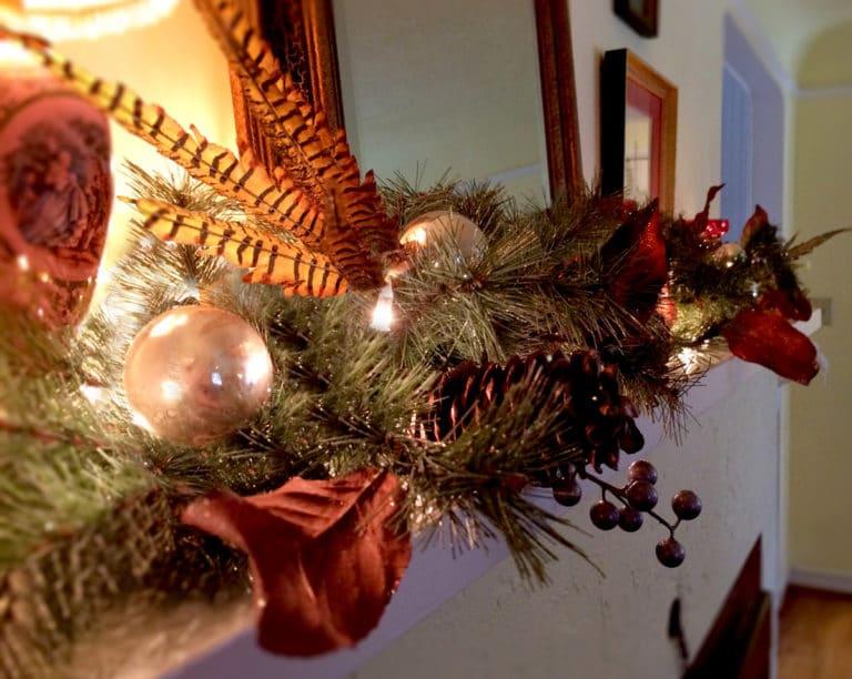 Holiday decorating festive christmas mantle