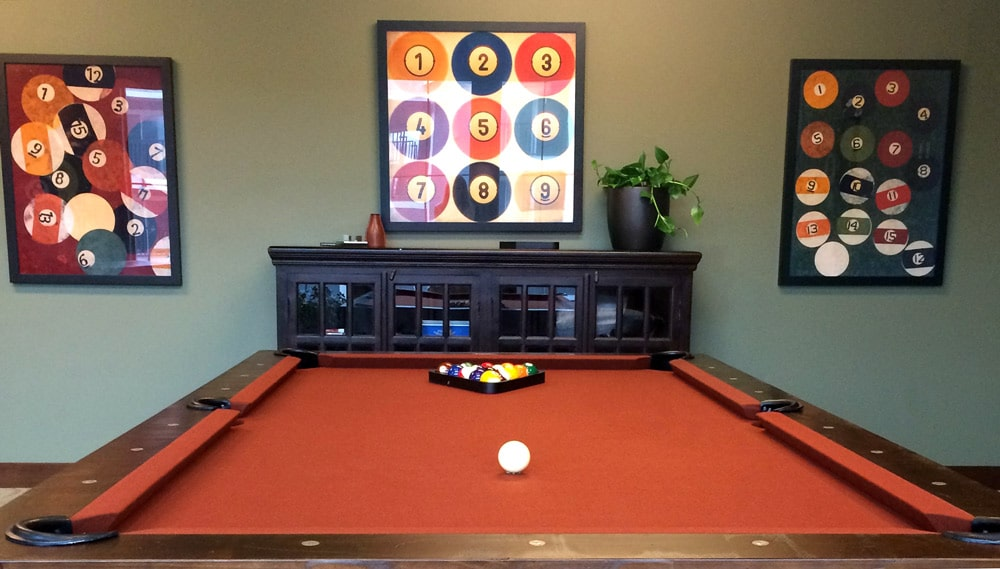 billiards room pool table style masculine design rustic elements interior