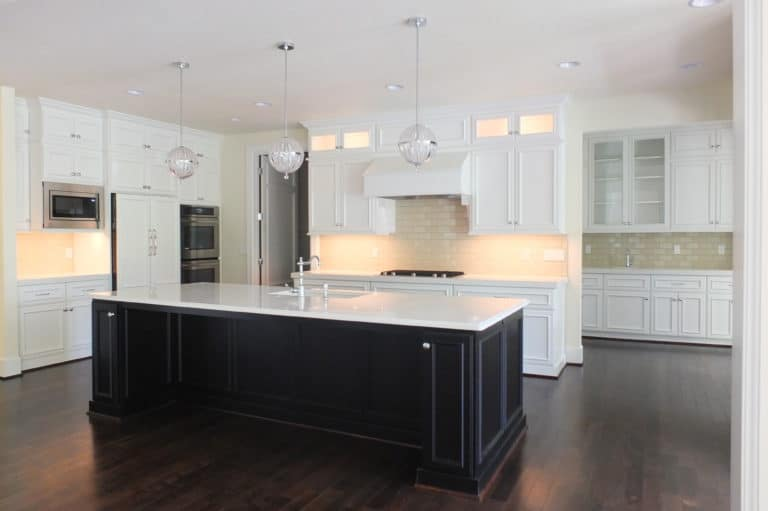 kitchen remodel interior with dark cabinetry
