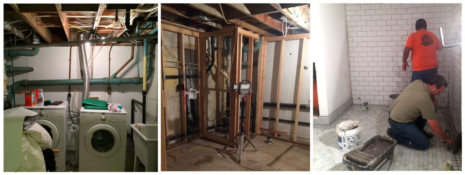 Three stages of a basement remodel project