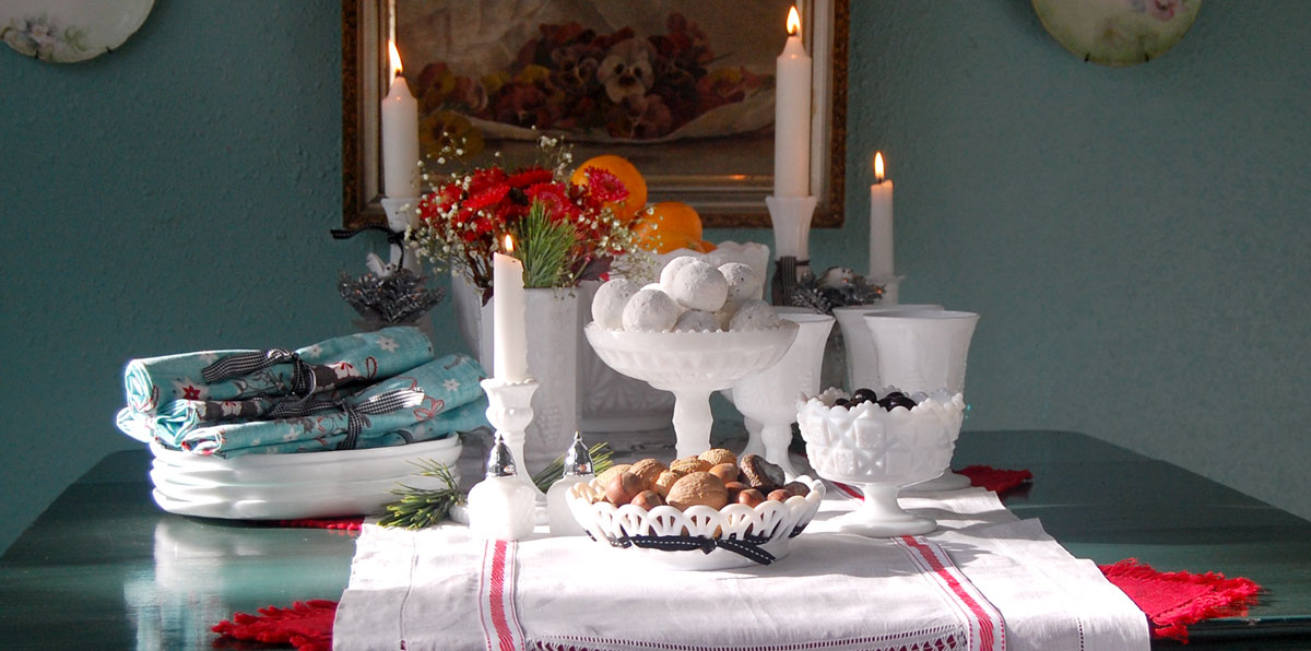 Christmas brunch table with milk glass pieces