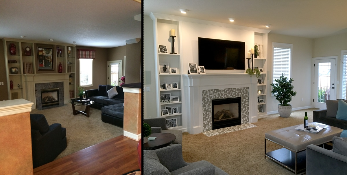 Before and after images showing how to tastefully decorate with family photos