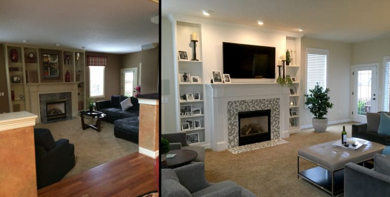 before and after living room family photos in black and white