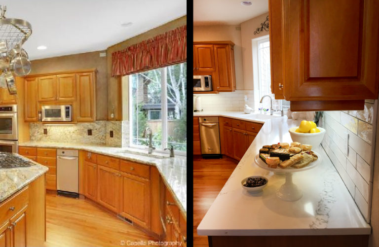 before and after photos of contemporary kitchen remodel