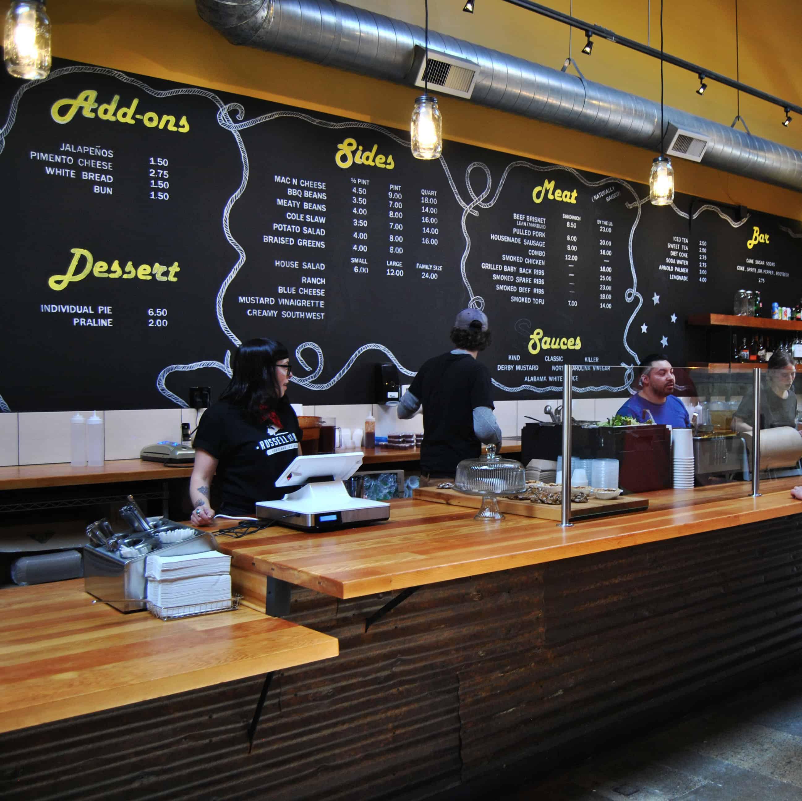 restaurant interior design portland with chaulkboard menu