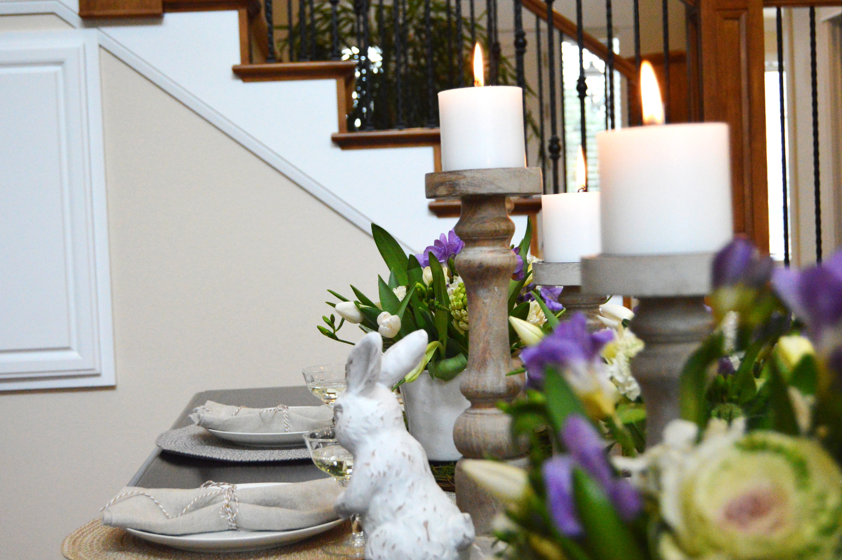 Lovely close-up photo of spring table accessories and candles