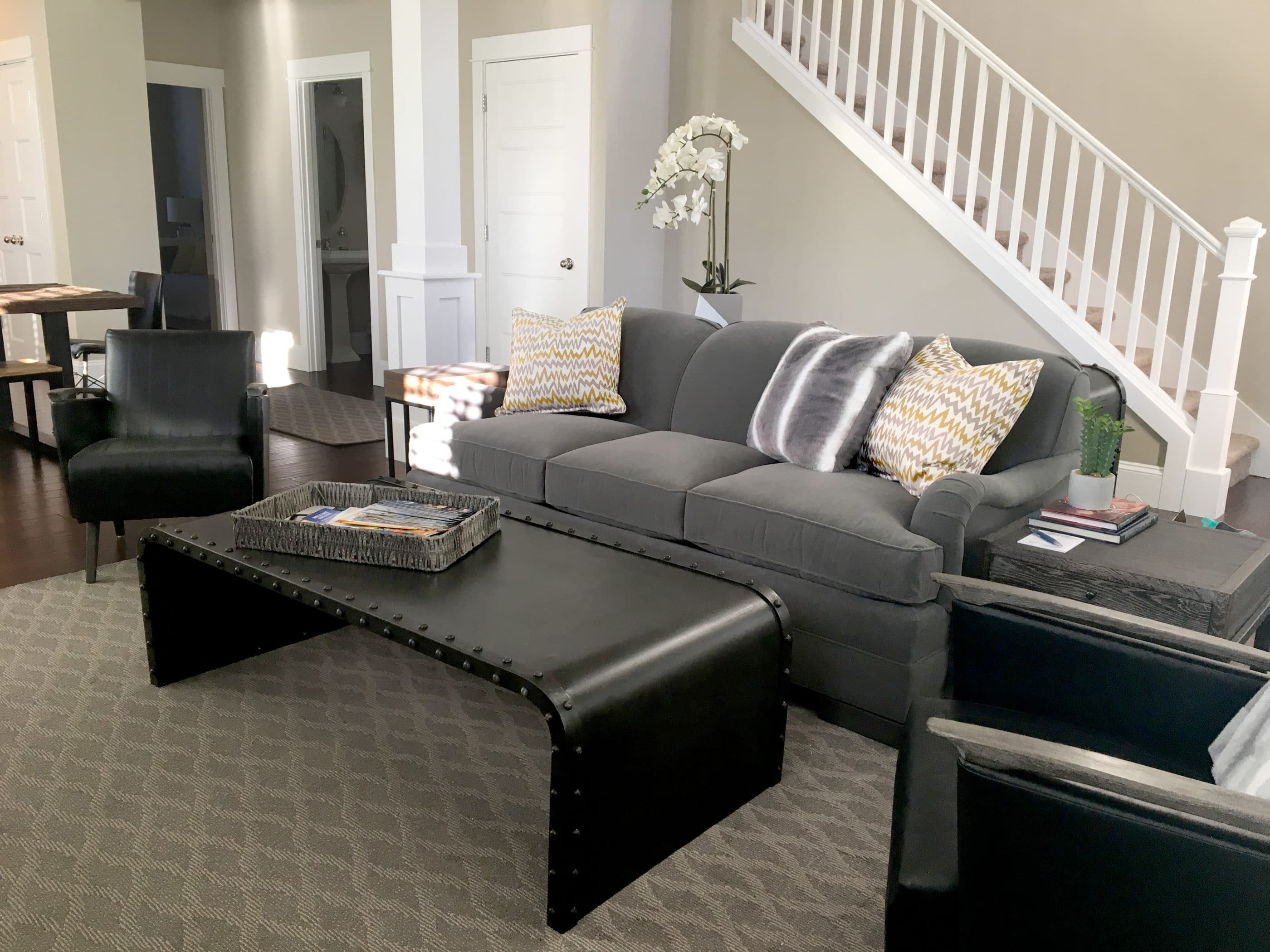 vacation rental interior decor with gray sofa