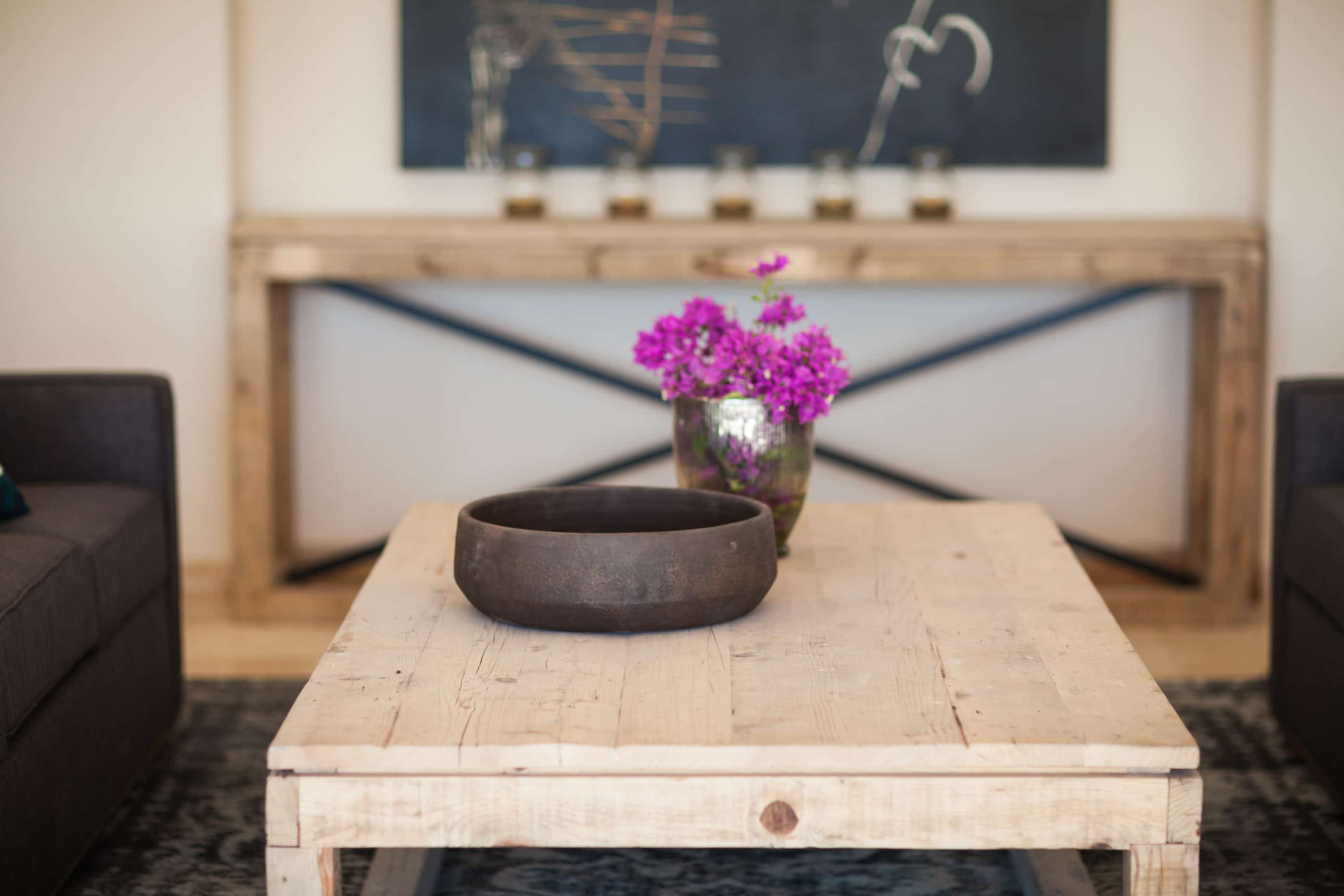 detail of reclaimed wood coffee table and custom accessories