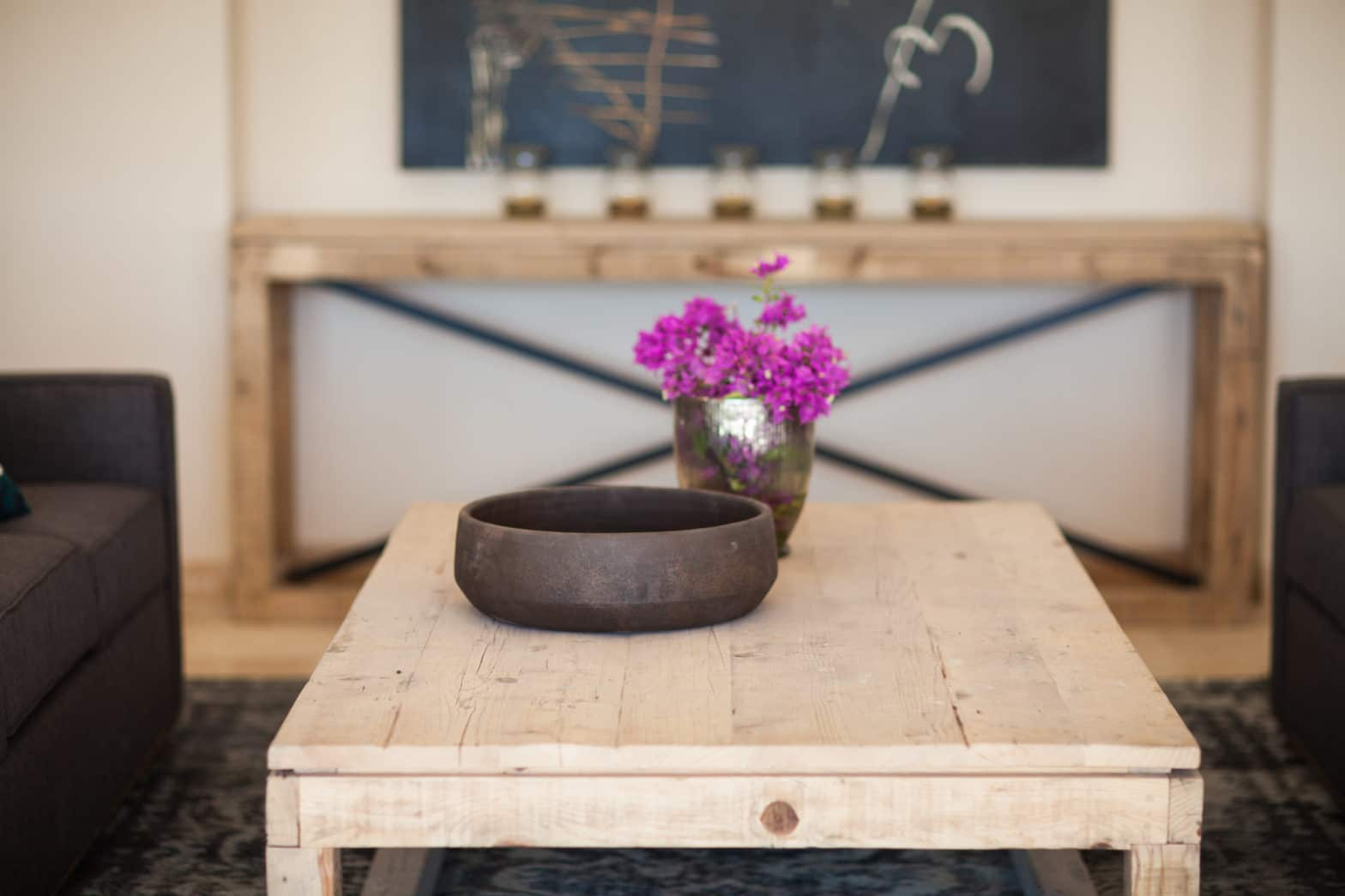 Fuschia Flowers on Wooden Kitchen Table