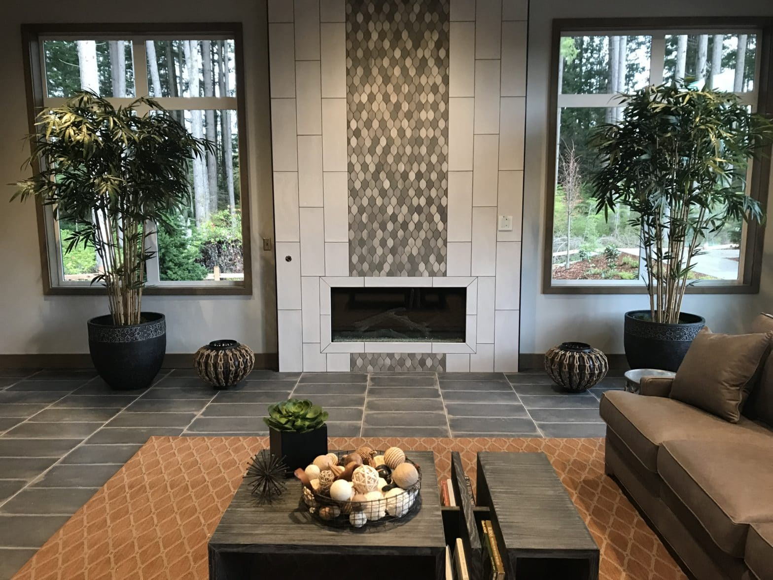 Custom Tiled Fireplace in Rec Center In Washington