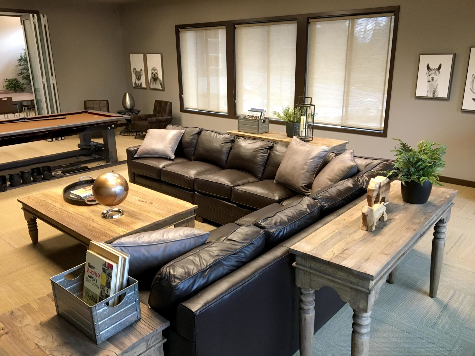 Rec Center With Black Leather Sectional Sofa and Pool Table