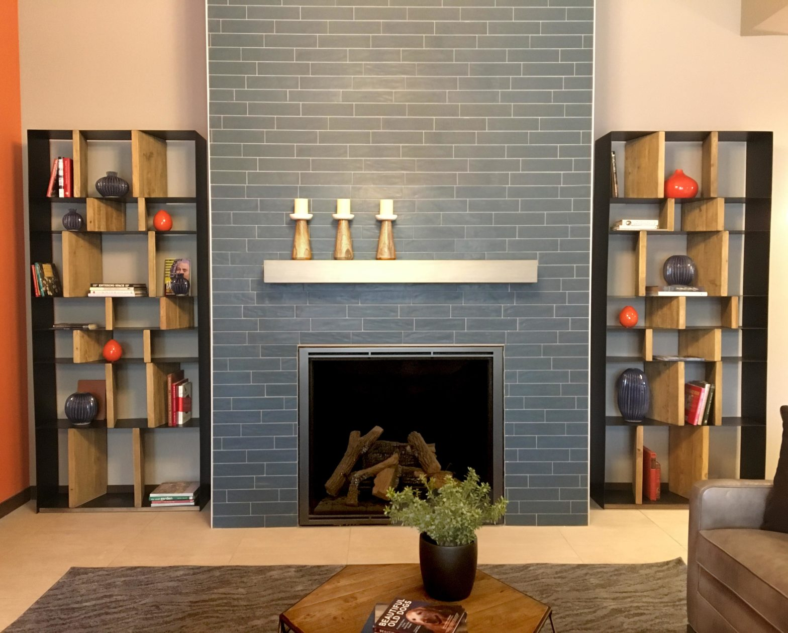 Commercial Rec Center Fireplace With Blue Subway Tile