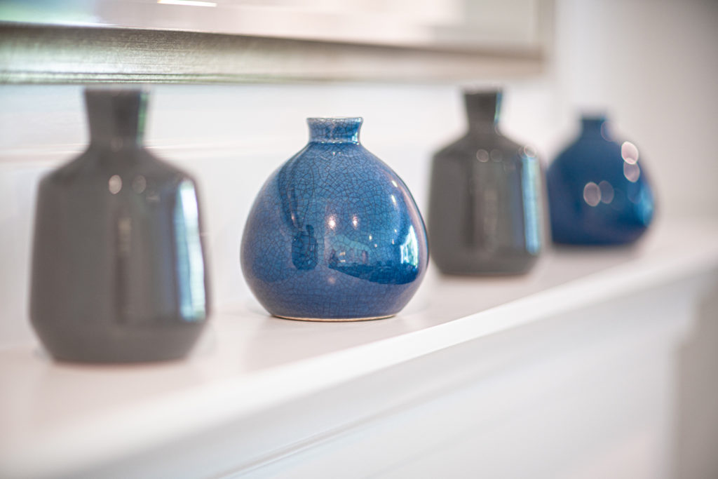 blue and gray vases for interior design accents