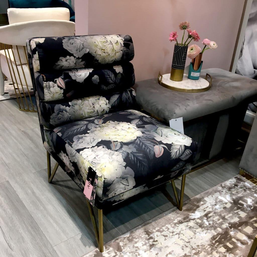 floral pattern in black and blush furniture design