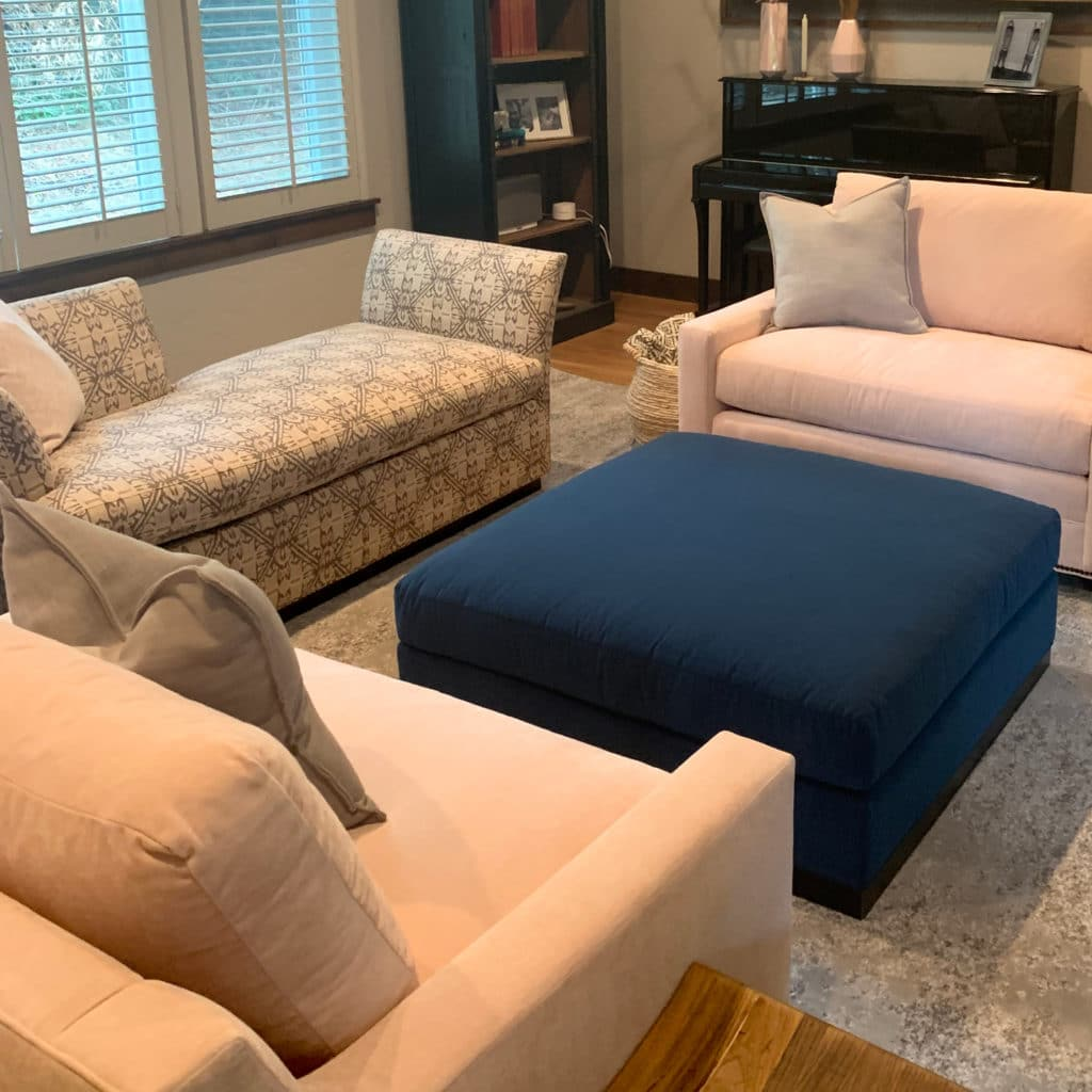 blush pink chairs and royal blue ottoman patterned chaise lounge design