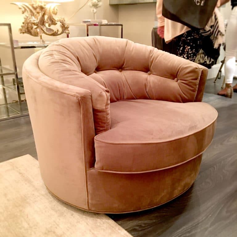 Blush Colored Velvet Swivel Chair