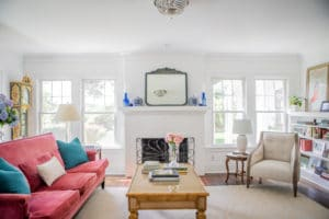 home interior remodel with white walls pink sofa