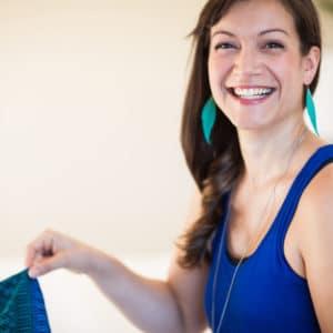 interior designer julika in blue dress