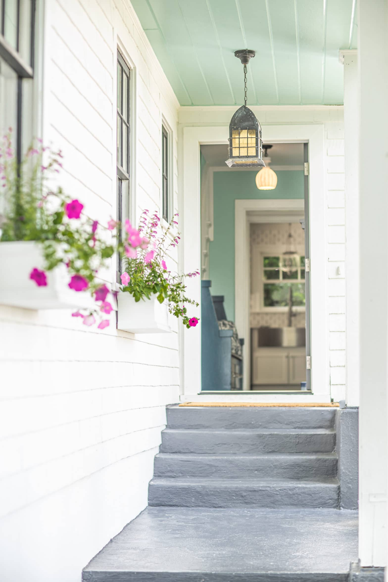 Portland interior designer front entryway with gray steps