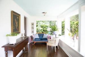 sunroom design by portland designer home decor blue sofa