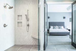 master bathroom remodel design gray tile