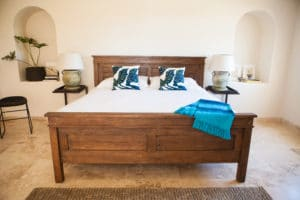 beautiful wood master bed