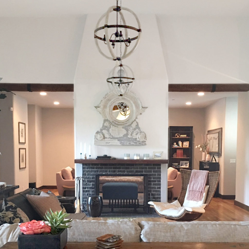 fireplace style with white paint and mirror