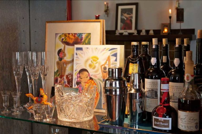 bar area with eclectic artwork
