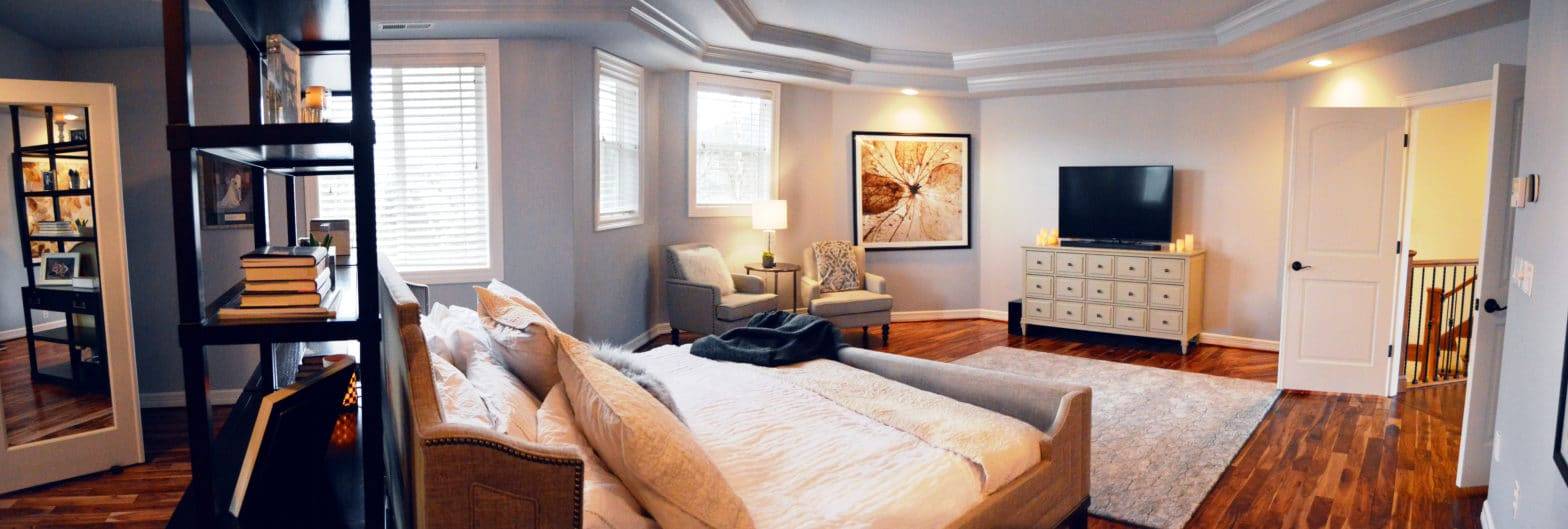 transitional design style master bedroom
