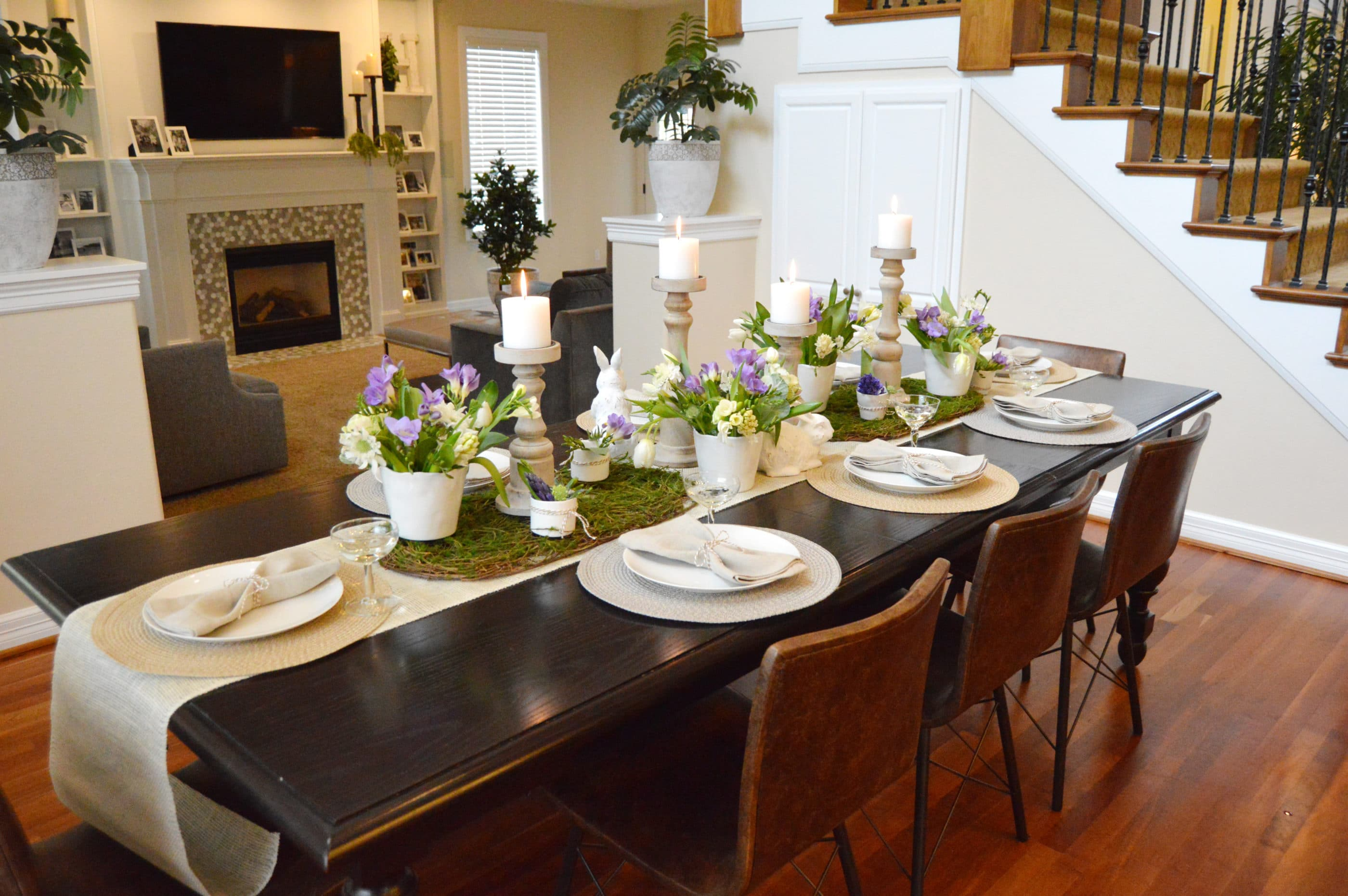 spring tablescape design with fresh flowers and linen table runner