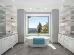 freestanding modern bathtub in master bathroom design