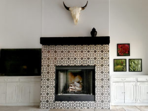 interior design with black and white tile fireplace