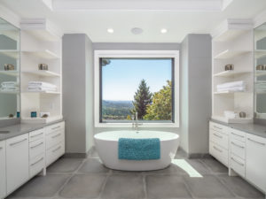 freestanding modern bathtub in master bathroom design