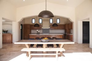 custom kitchen furniture and iron lighting