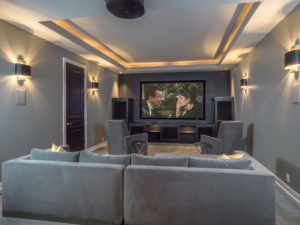 home theater design with custom lighting and furniture