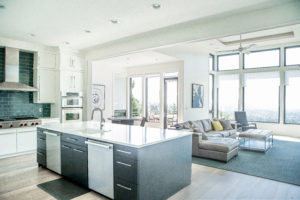 modern kitchen interior with black cabinets kitchen island