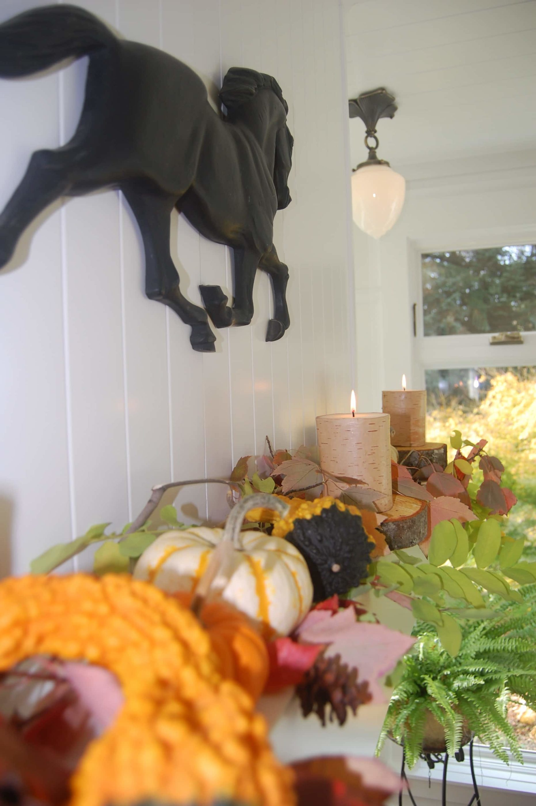 Fall Decorations with Iron horse and Pumpkins