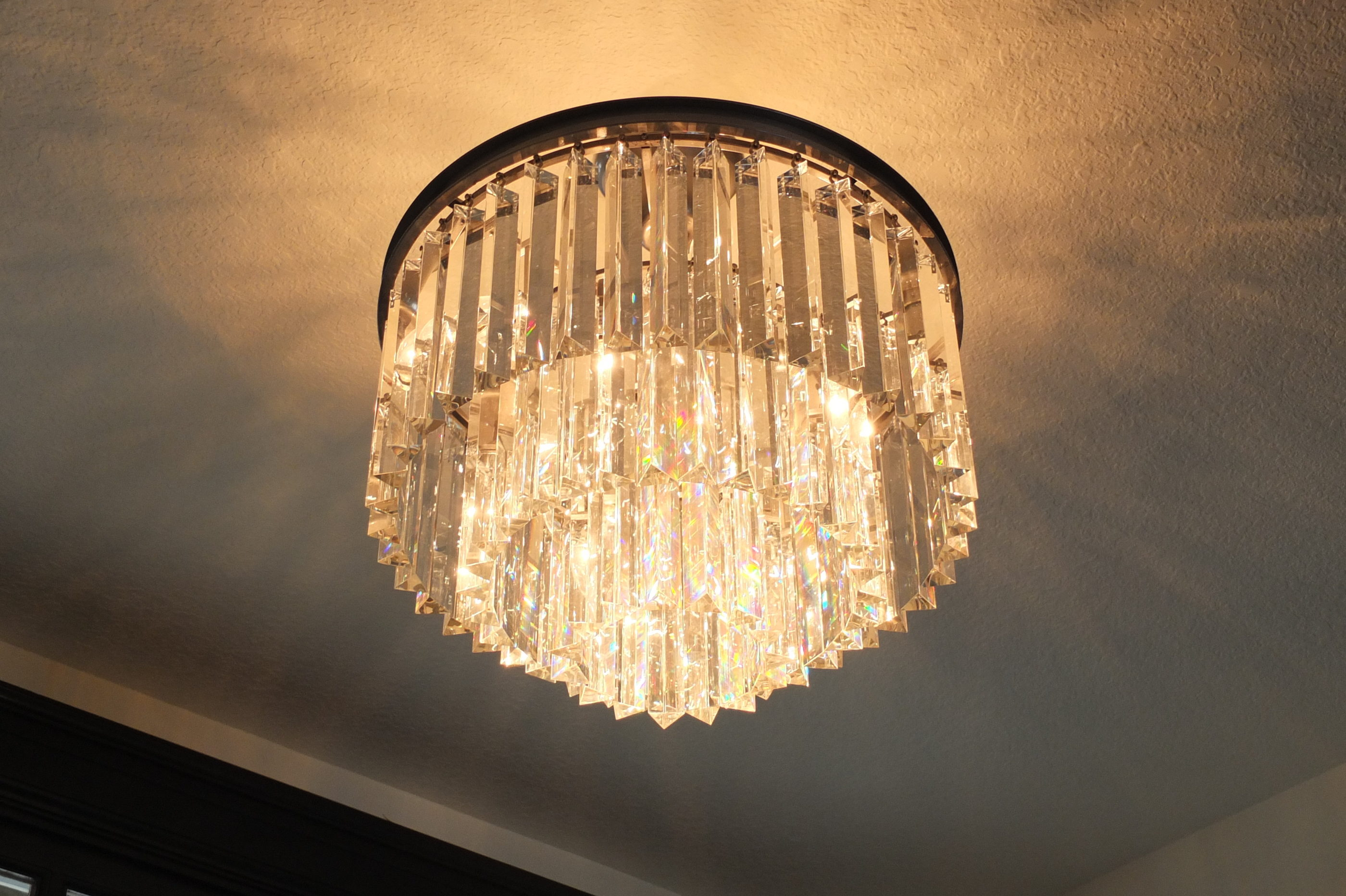 Chandelier With Two Tiers of Crystal Prisms