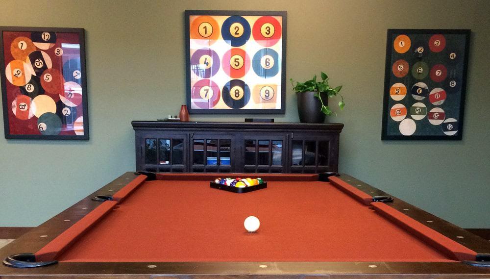 billiards room pool table style masculine design rustic elements interior