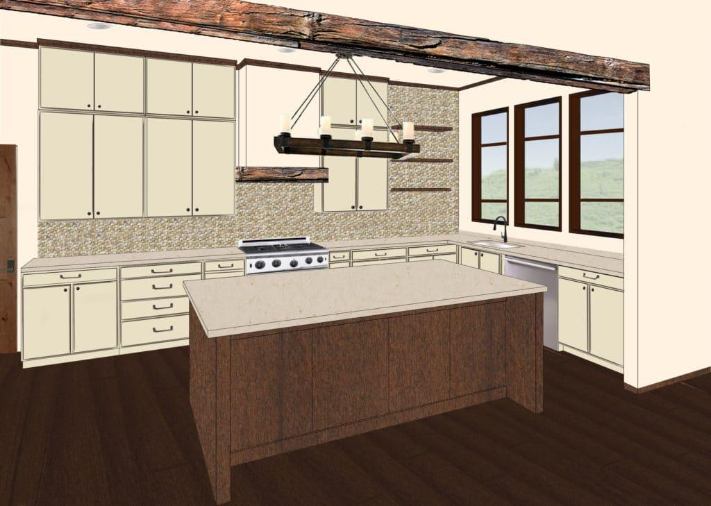 Digital Rendering of a Modern Rustic Kitchen Design