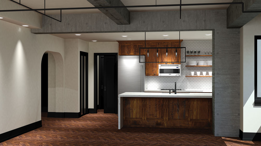 Rendering of Apartment in Post-industrial Style
