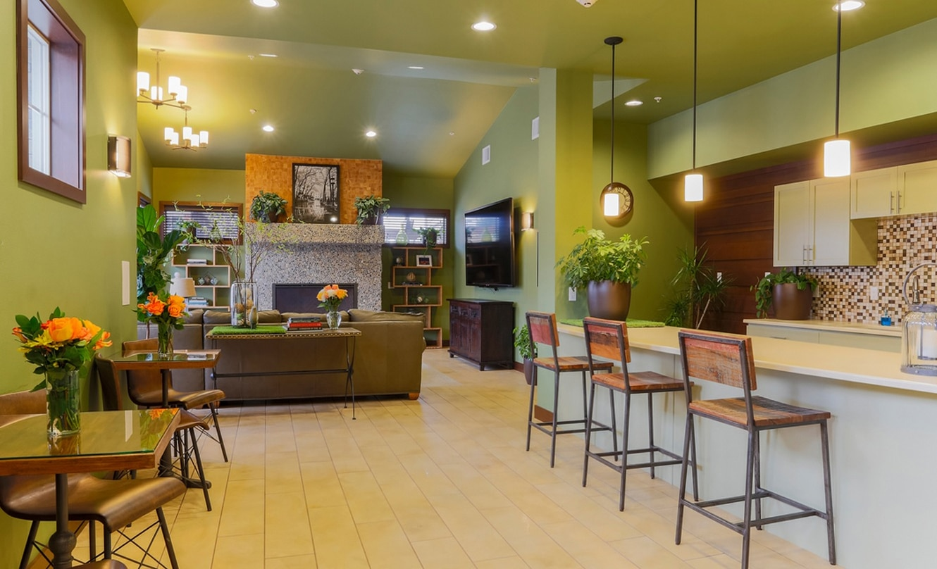 Commercial Rec Center Design with Rustic Theme and Green Walls
